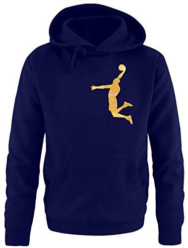 Coole-Fun-T-Shirts Dunk Basketball Slam Dunkin Erwachsenen Sweatshirt mit Kapuze Hoodie Navy-Gold, Gr.XXL