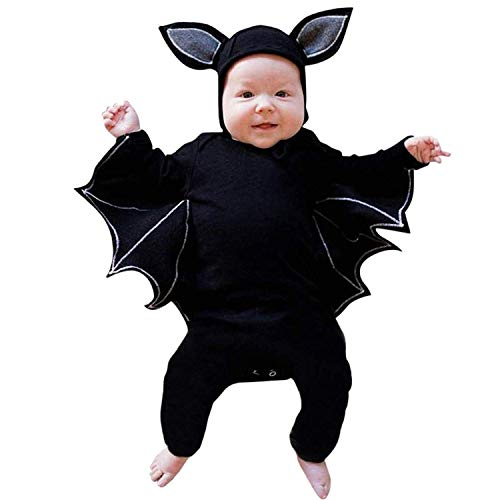 BELS Baby Girl Boy Halloween Clothes Black Bat Costume Cloak Romper with Hat Outfit (Black1, 70/0-6M)