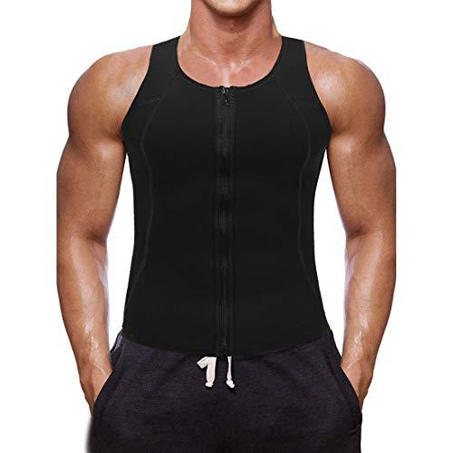 Litthing Chaleco Deportivo para Hombres Faja Reductora Sauna Camiseta Adelgazante Térmica Compresión Muscular Vest para Quemar Grasa Sudoración Gimnasio con Cremallera(Negro, XL)