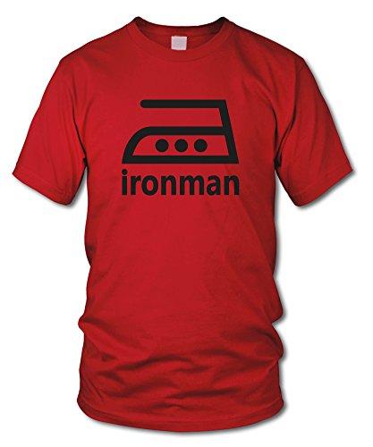 Ironman - Fun T-Shirt - Kult - Rot (Schwarz) - Größe M