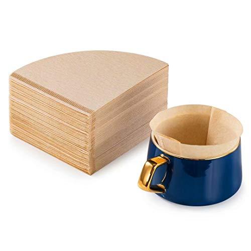 Kegel-Kaffeefilter, 2–6 Tassen, 200 Stück, natürliche Kaffeefilter, ungebleichte Papierfilter, V02, kompatibel mit V60 und Nr. 2 Größe Pour Over Troppers