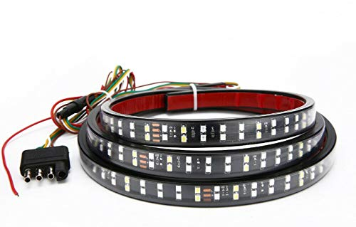 ICBEAMER 5-Function 60' 2 Row LED Truck Tailgate Side Bed Light Strip Bar Waterproof Reverse Turn Signal, Parking, Brake