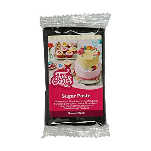 FunCakes Pasta di Zucchero Raven Black: facile da usare, liscia, flessibile, morbida e pieghevole, perfetta per decorare torte, halal, kosher e senza glutine. 250 gr