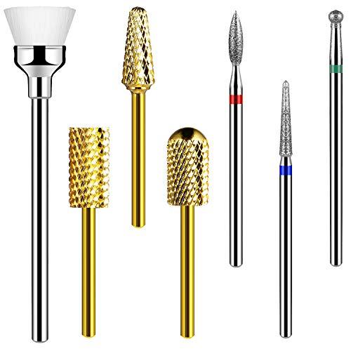 Nail Drill Bits Set for Acrylic Nails - wiwi 7PCS Tungsten Carbide Drill Bits Cuticle Drill Bits Nail Bits for Nail Drill 3/32 Inch for Efile Nail Bit Manicure Pedicure