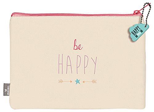 moses. Täschchen Be Happy | Kosmetiktäschchen mit Sternen Print und niedlichem Anhänger | Für Schminkutensilien, Stifte und Krims-Krams