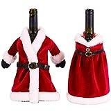 Xiuyer 2pcs Tapa Botella Vino Navidad Material Terciopelo Vino Navidad Bolsas Decoraciones Hecho Mano para Decoración Mesa Fiesta Navidad