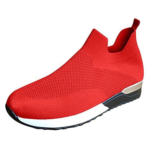 OHQ Zapatillas De Deporte para Mujer Transpirables Malla Sin Cordones Calzado Deportivo Antideslizante Zapatilla para Correr CóModo Y Elegante (Rojo, Numeric_38)