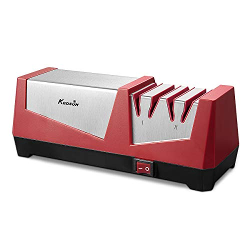 KEDSUM Knife Sharpener Electric 2 Stage Kitchen Knife Sharpener for Ceramic Knife 600# 1000# 2 in 1 Knife Sharpening with Diamond Abrasives and Precision Angle Control- Red