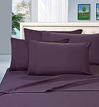 Elegant Comfort Juego de sábanas de 1500 Hilos, Calidad egipcia, 6 Piezas, sin Arrugas y Resistente a la decoloración, Lujoso, Color Morado Berenjena