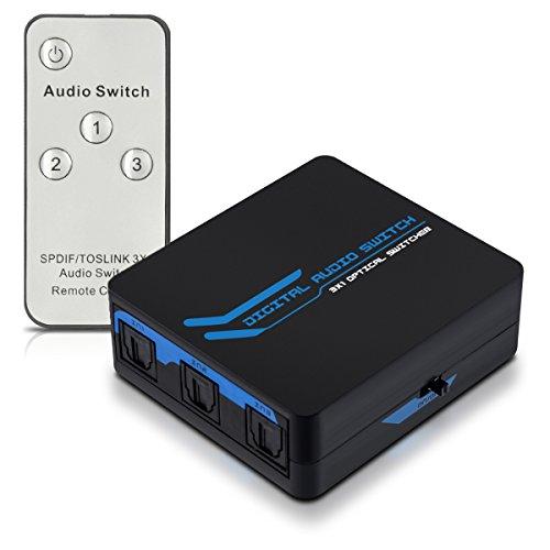 kwmobile Digital Audio Verteiler Switch - 3 facher Umschalter Adapter für optische SPDIF Toslink Audiokabel mit IR Fernbedienung - 3x1 Wandler