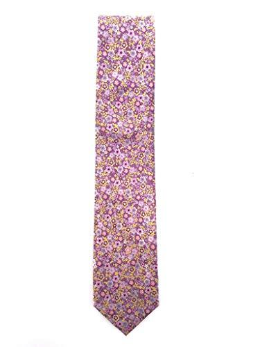 Francisco Pavón Corbata de hombre fondo malva con florecillas en rosa y amarillas.Medidas de la pala 8cm.Fabricada en España