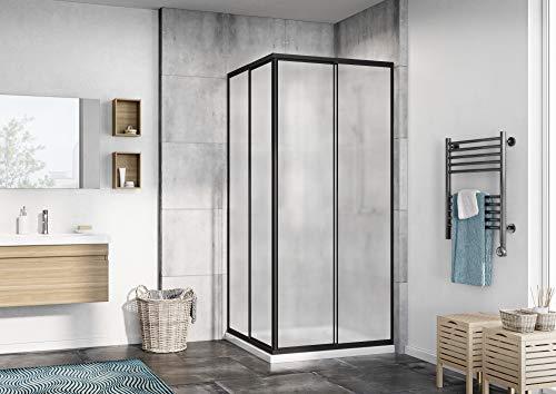 Eckeinstieg Duschkabine Kunststoffglas Tropfendekor Edle Schwarze Profile 80x80 90x90 80x90 90x80 Schwarz