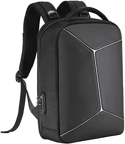 Anti-Theft Backpack with RFID Pocket Water Proof Business Geek Laptop Bag with USB Charging Port and Earphone Port, Reflective Travel Bag with Lock fits Most to 15.6 inch for Men & Women Black