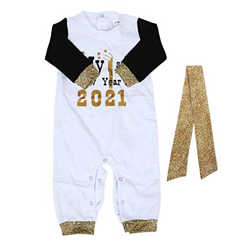 GARNECK 2021 Año Nuevo Baby Romper with Headband Winter Cotton Golden Glitter Niño de Manga Larga Mono Pijama Outfit New Year 70Cm