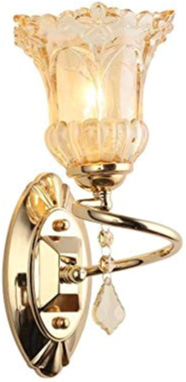 LCTCDY Moderne Goldene Kristall-LED-Wandleuchte-Befestigung Schlafzimmer-Flur mit E27 Halter-einfacher Klammer