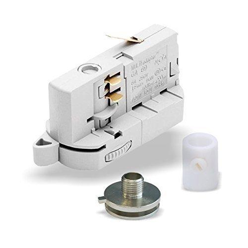 MULTI-adapter Universal Adapter GA69 für 3-Phasen Stromschienen inkl. Alunippel und Zugentlaster als komplett SET zur Leuchtenabhängung | versch. Ausführungen. (Weiß)