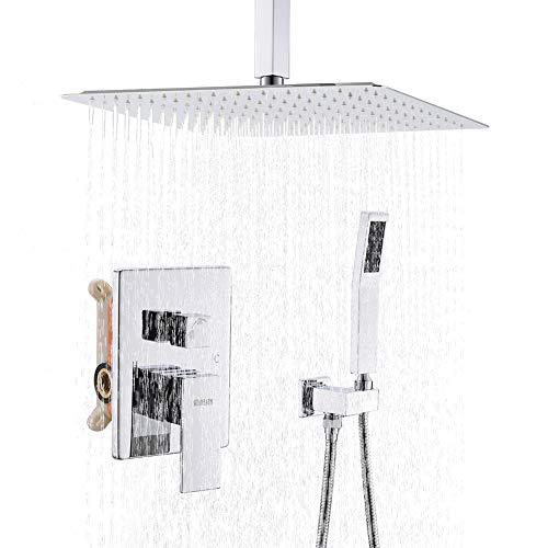 STARBATH SS01FC 12 Inch Ceiling Mounted Shower System with Rain ShowerHead and Handheld Shower Head, Shower Faucet Rough-in Mixer Valve and Trim Included Shower Combo Set,Chrome