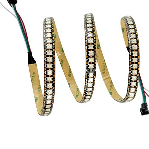 Tira de luces LED 1m, WS2812B 144 LED IP65 Impermeable 5V PCB negro, Tira de luces LED RGB flexible con controlador USB para oficina en casa, fiesta, cocina, dormitorio