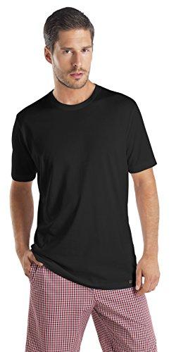 HANRO Men's Night & Day Short Sleeve Shirt, Black, Large
