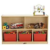 """ECR4Kids Birch 5-Section School Classroom Storage Cabinet with Casters, Commercial or Personal Storage, Kids' Storage Organizer Shelf, Friendly Design, Certified and Safe, 30"""" High, Natural"""