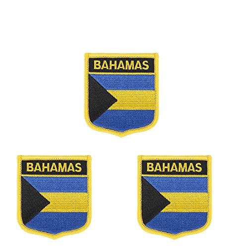 Aufnäher mit Bahamas-Flagge, bestickt, Shiled Form, zum Aufbügeln oder Aufnähen, 3 Stück