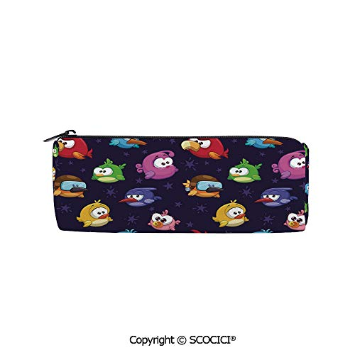 SCOCICI Cylinder Toiletry Travel Bag Pencil Pouch Angry Flying Birds Figure with Various Expressions Game Toy Kids Babyish Artsy I Practical Durable Compact Zipper Pencil Case,8x3x3 inch