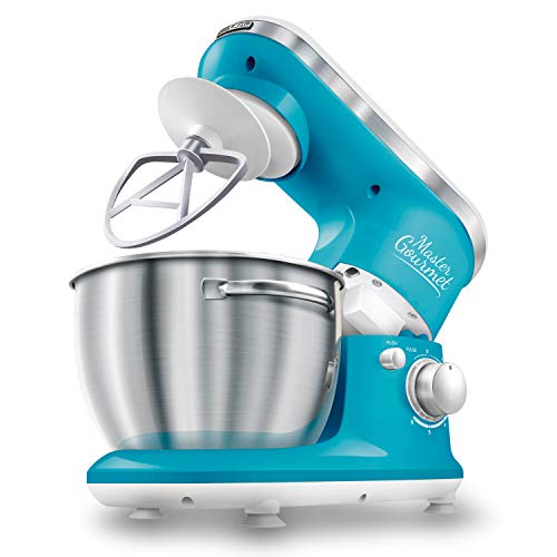 Sencor STM3627TQ 6 Speed Stand Mixer with Pouring Shield and 4 Specialized Metal Attachments and Stainless Steel Bowl, 4.2 Qt, Turquoise
