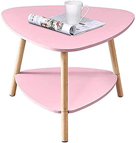 Meishikanka Tabla de Mesa de Mesa Lateral de sofá pequeño con Estante de Almacenamiento, Mesa de rincón de Mesa de mesita de Noche de Madera para colourfull (Size : Triangle-Pink-41.5(H))