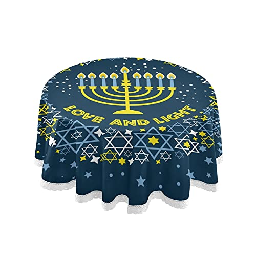 vvfelixl Jewish Holiday Hanukkah Traditional Chanukah Symbols Round Table Cloth for Banquet Party Burlap Holiday Festival Decorations Everyday Use 60 Inch