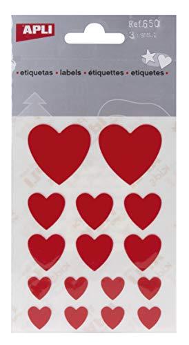 APLI - Bolsa de pegatinas corazones rojos 3 hojas