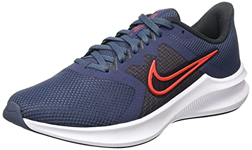 Nike Men's Downshifter 11 Thunder Blue/Chile Red-Pure Platinum Running Shoe (CW3411-400)
