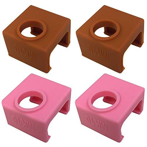 3D-Druckersocken, kompatibel mit MK10 Wanhao Duplikator D4/I3/Dremel i3 Makerbot Heizblock, AFUNTA hohe Temperaturbeständigkeit Silikon Schutzhülle für 3D-Drucker Extruder – 2 Kaffeefarben und 2 Pink