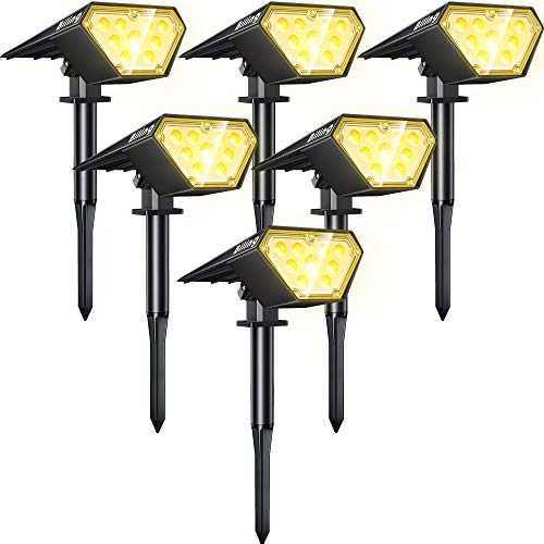 Biling Solar Spotlights Outdoor, 2-in-1 Solar Landscape Lights 12 LED Bulbs Solar Powered Lights IP67 Waterproof Adjustable Wall Light for Patio Pathway Yard Garden Driveway Pool - Warm White(6 Pack)