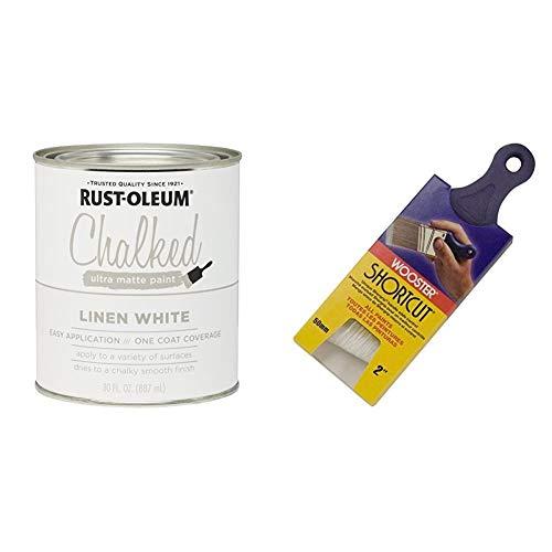 Rust-Oleum 285140 Ultra Matte Interior Chalked Paint 30 oz, Linen White & Wooster Brush Q3211-2 Shortcut Angle Sash Paintbrush, 2-Inch, White