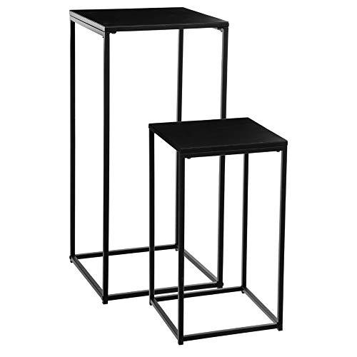 Set di 2 tavolini in metallo - Stile industriale - Colore: NERO