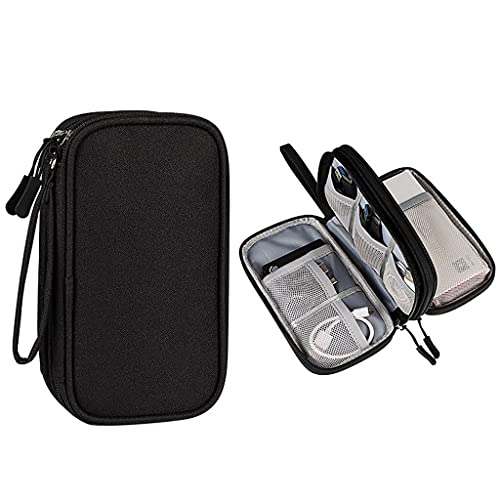 Electronics Organizer,LYDZTION Electronics Accessories Organizer Pouch Bag Waterproof Travel Cable Storage Bag for Power Adapter,Charger Cables,Wireless Mouse,SD Card, USB Cable and More(Black)