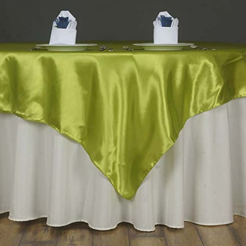 "Efavormart 5pcs 60"" Satin Square Tablecloth Overlay for Wedding Catering Party Table Top Decorations SAGE Green"