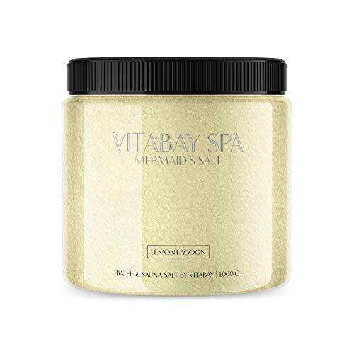 Vitabay Sauna- und Badesalz Lemon Lagoon 1000 g • Sanftes Körperpeeling • Whirlpool geeignet