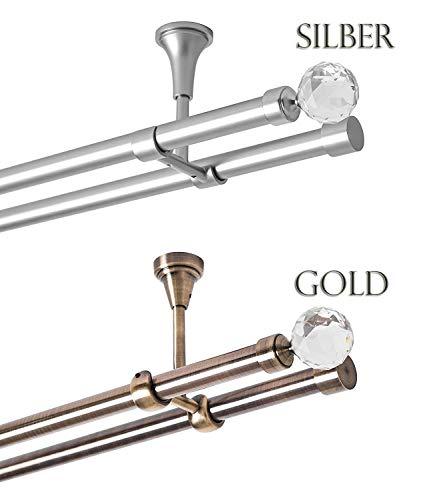 Rollmayer Metall Antik Gold Vorhangstange/Gardinenstange Ø 19mm Rohr (400cm Carmen, im Gold, Deckenbefestigung, 2-läufig) einfache Montage Verschiedene Größen und Endstücken. Ohne Ringe!