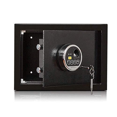 Pistol Safe, vingerafdruk + Key + wachtwoord, Black Beveiliging Kluis, 3C Certified Safe, Thuis Small Safe Office stalen kast Brandkasten