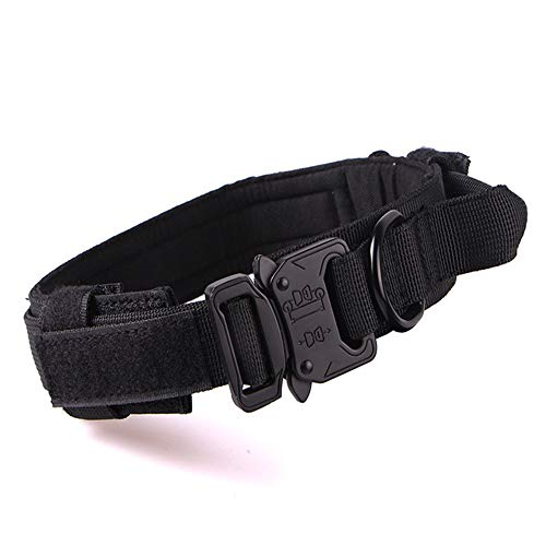 Fas Plus Tactical Dog Collar Adjustable Military Dog Collar Handle for Medium Large XL Dogs Thick Training Camo Collar Strong Heavy Duty Velcro Army K9 Collar Nylon with Metal Buckle(Black/XL)