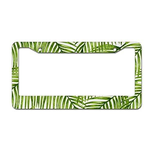 Mesllings eenvoudige groene tropische planten palmbomen laat plaat frame, Licentie Tag houder 12