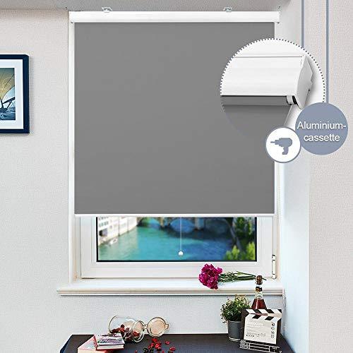 HOMEDEMO Springrollo mit weißer Aluminiumkassette (120x230cm, Grau) Schnapprollo Mittelzugrollo Thermo Verdunklungsrollo für Fenster zum Bohren Hitzeschutz und Sonnenschutz
