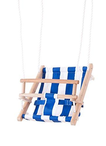 Beluga Spielwaren GmbH 70205 TWIPSOLINO Babyschaukel, blau/weiß Beluga Spielwaren 70205-TWIPSOLINO Holz Kinderschaukel Gartenschaukel