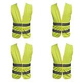 Family Motoring & Leisure 4 Pack Adult Yellow Hi Vest High Vis Hi Viz Visibility Vest Waistcoat Safety...