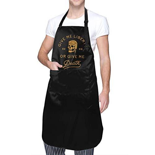 AllenPrint Delantal De Chef,Delantal Li-Berty O Death Work, Delantales De Cocina Resistentes Al Agua para Cafetería, Bar, Pub, Panadería,70x84cm