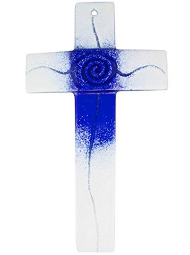 Glaskreuz blau/weiß, Breite 3,2 cm