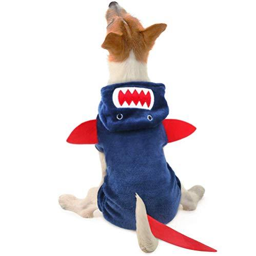 LYYJF Disfraz de tiburón para perro, abrigo de forro polar, para perros, gatos, cachorros, chihuahuas, fiestas, Halloween, Navidad, Pascua, etc.