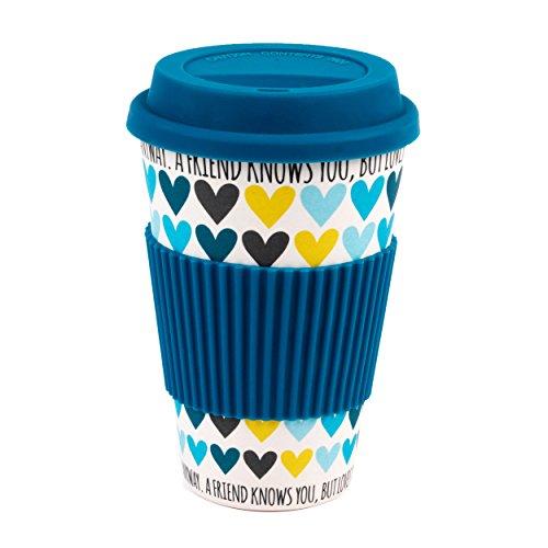 Cambridge CM05510 A Friend Loves You Heart Bamboo Eco Travel Mug, Blue