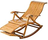 GAOFQ Tumbona Sillas de jardín Tumbona Plegable Silla Perezosa Butaca, Mecedora Ocio Hueco de bambú con Bolas de Masaje para pies Silla de Descanso para el Almuerzo